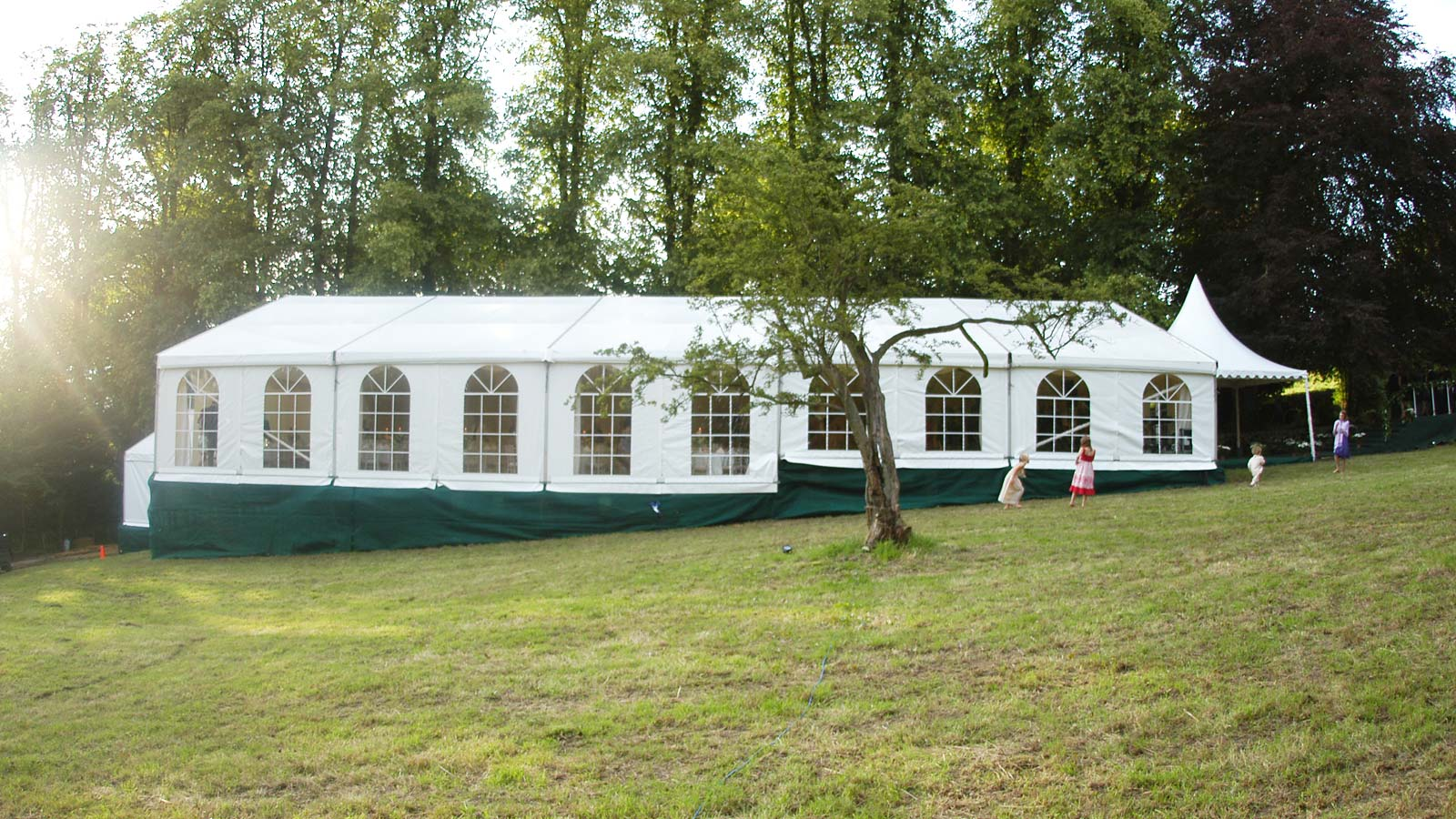 marquee erected on a hill